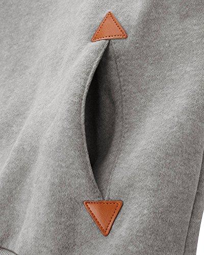 YuanYan Femme Tops Sweats à Capuche Pull Hoodie Hauts Veste Sweatshirt Pullover Gris