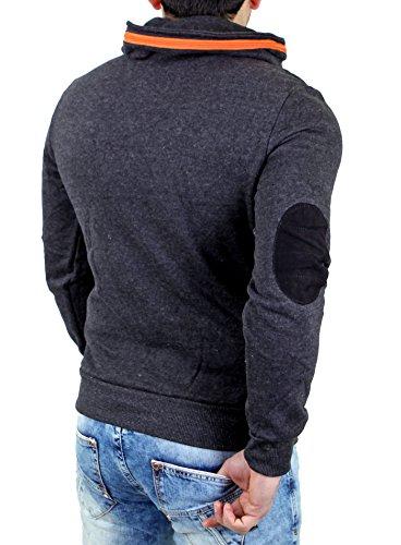 Reslad Sweatshirt Herren Zipper Kragen Pullover RS-03 Grau