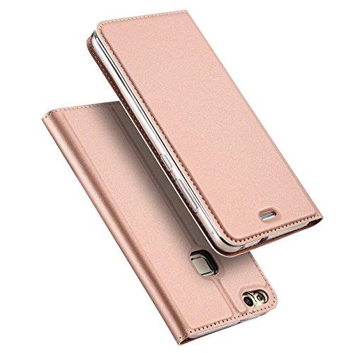 Verco Handyhülle für P9 Lite, Premium Handy Flip Cover für Huawei P9 Lite Hülle [integr. Magnet] Book Case PU Leder Tasche, Rosegold