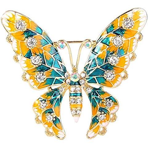 Nunca la FE esmalte de cristal austriaco de la mujer elegante mariposa broche claro tono dorado