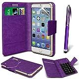 N4U Online® - Parla Gala PU-Leder Saugnapf Mappen-Kasten-Abdeckung & High Sensitive Stylus Pen - Purple