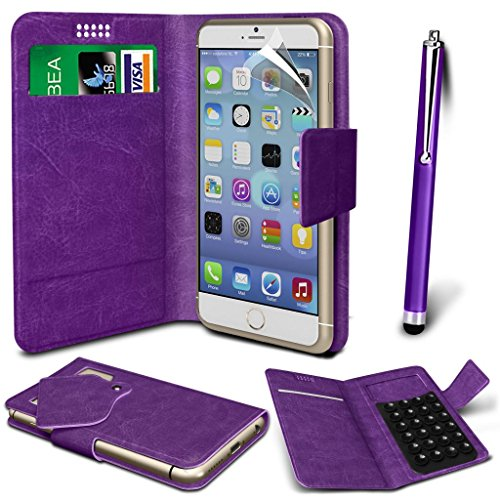 N4U Online® - ZTE Kis 3 Max PU-Leder Saugnapf Mappen-Kasten-Abdeckung & High Sensitive Stylus Pen - Purple