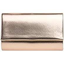 5b3fe17a04541 CASPAR TA361 elegante Damen Envelope Clutch Tasche Abendtasche mit langer  Kette