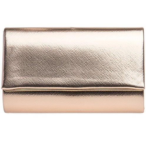 CASPAR TA361 elegante Damen Envelope Clutch Tasche / Abendtasche mit langer Kette, Farbe:roségold;Größe:One Size