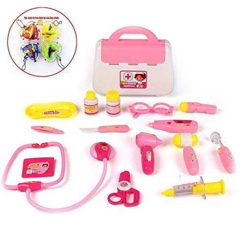 Doctora Juguetes,WoBoSen Caso Médico con Accesorios de Muñeca Juguetes Doctor Case 16 Piezas para Niños (Rojo)