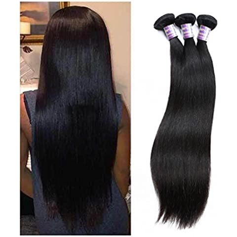 Meydlee Extension Lordo 7A Virgin del brasiliano capelli lisci 3 pacchi dei capelli umani di vendita superiore 300g di capelli prodotti naturali Colore 1B , 10 inches