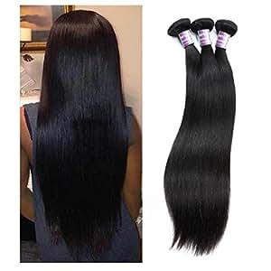 Haarverlängerungen Rohboden 7A Brazilian Virgin Hair 3 Bundles gerade Menschenhaar-Top Selling 300g Haarprodukte Natürliche Farbe 1B , 26 inches