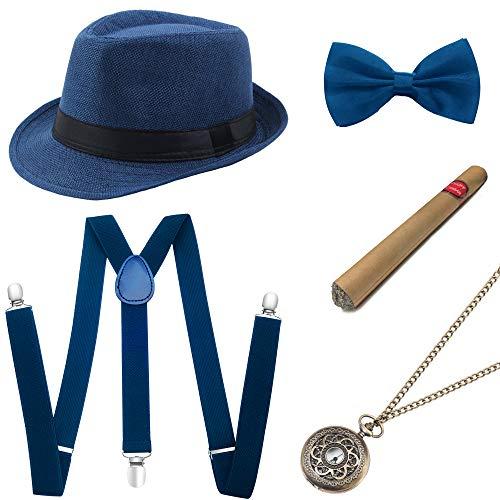 Coucoland 1920s Herren Accessoires Mafia Gatsby Kostüm Set inklusive Panama Gangster Hut Verstellbar Elastisch Hosenträger Herren Halsschleife Fliege Taschenuhr und Plastik Zigarre (Blau) (Art Deco Kostüm Schmuck)