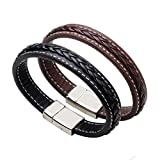 #6: Leather Bracelet for Men with Stainless Steel Clasp (black)