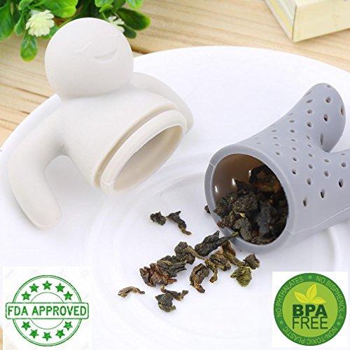 & iNeibo Kitchen Mrs & Mr.Tea infusore/Filtro Te/colino Tè in silicone a forma di Omino, Design inteligente addato a tutte le tazze, 100% Silicone alimentare inodore privo di Bpa. Set da 2 (Rosa,Grigio) miglior prezzo
