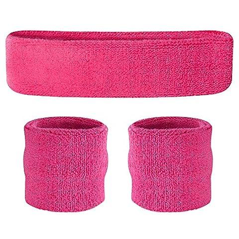 Suddora Headband / Wristband Set - Sports Sweatbands For Head And Wrist Neon Pink