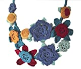 Perfecto para vestir de flores de ganchillo collar azul y rojo
