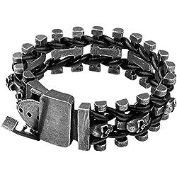 FORFOX Cuero trenzado con hebilla, acero titanio, para hombre y mujer, 18 cm