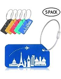 Etiquetas de Equipaje de Aluminio, Paquete de 5 Etiquetas de identificación de Viaje con Cable, Etiquetas de Viaje para Equipaje, Maletas, Bolso de Mano - con un patrón único, Anti-óxido