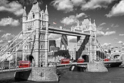 1art1 54168 London - London Bridge Buses Poster 91 x 61 cm