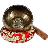 Rovtop tibetische Klangschale Set für Meditation, Gebet und Yoga mit Holz Sturm aus Mahagoni und Hand genäht Kissen