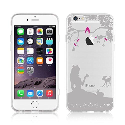 """iPhone 6 Hülle, JAMMYLIZARD Transparentes Sketch Back Cover aus Silikon mit Muster für iPhone 6 / 6s 4.7"""", KRATZENDE KATZE Schneewittchen"""
