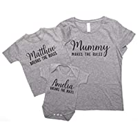 ART HUSTLE Mummy Makes The Rules Personalised I Break The Rules - Mother and Daughter Matching Outfits (T Shirt, Grey 2 Piece)