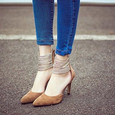 LvYuan Sandali-Formale Serata e festa-Club Shoes-A stiletto-Di pelle-Nero Marrone Dark Brown