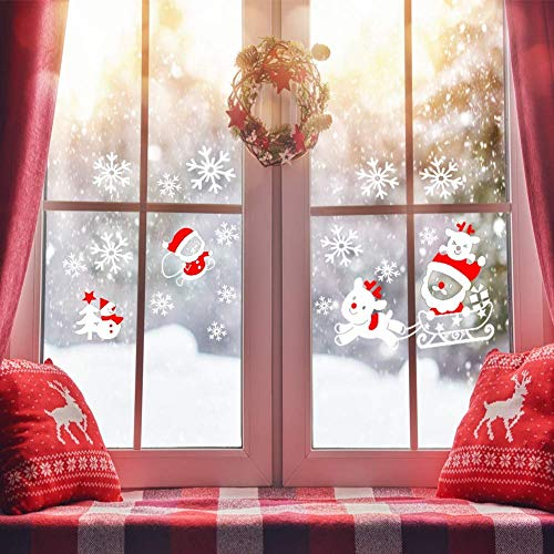 Weihnachtsfenster Aufkleber, StillCool 200+ Stück Schneeflocken mit Fensterdeko Schneeflocken Aufkleber Weihnachten enthalten Schlitten Hirsch Weihnachtsbaum Schneeflocke Schneemann