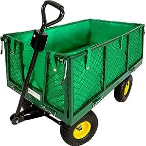 TecTake Carretto carrello rimorchio in ferro rimorchio trasport legna giardino carro 550kg