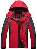 Menschwear Giacca a Vento per Uomo con cappuccio da Trekking Montagna Pouring Adventure e Outdoor Sports Impermeabile Giacca Foderato di Pile (Rosso,L)