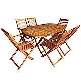 Shengtaieushop 7-teilige, zusammenklappbare Outdoor Esstisch Set Akazienholz Gartenmöbel Sets