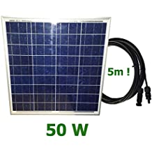 VIASOLAR Panel Solar fotovoltaico 50W 12V Cable 5m