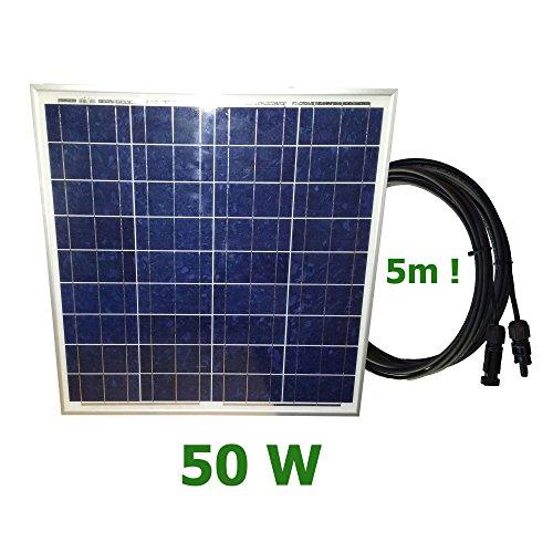 Panel solar fotovoltaico 50W 12V cable 5mPanel ideal para su autocaravana, caravana, barco, etc. Este panel solar de 12 voltios es lo suficientemente potente como para mantener su batería cargada durante largos períodos de tiempo sin arrancar el gene...