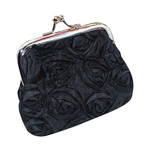 Saingace Womens Rosafarbene Blumen-kleine Mappen-Münzen-Geldbeutel-Kupplungs-Handtaschentasche Geldbörse Portemonnaie (Schwarz) (Bettwäsche Münze)