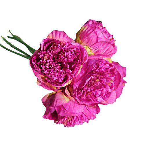 Winkey Bouquet de fleurs artificielles en soie pour mariage, fleurs de pivoines 33cm rose vif
