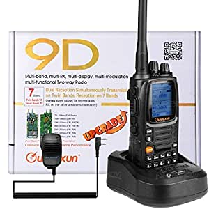 NKTECH WOUXUN KG-UV9D PLUS Dual Band TX 7-Band RX Tri-Power VHF 5W 2W 1W UHF 4W 2W 1W Cross-Band Repeater 999 Channel 136-174/400-512MHz Ham Walkie Talkie (Black With NKTECH NK-S113 Microphone)