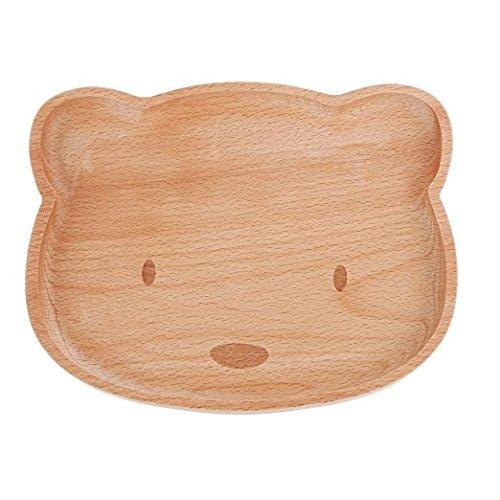 dahanbl Creayive Holz niedliche Kinder Bär Form Futter Teller Tablett HOME Kitchen (Holz Farbe) Bären-teller