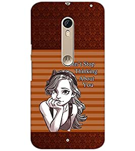 PrintDhaba THINKING GIRL D-6798 Back Case Cover for MOTOROLA MOTO X PURE EDITION (Multi-Coloured)