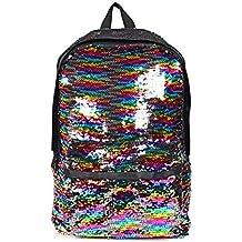 Leegoal magia reversible lentejuelas mochila escolar para niñas y niños, peso ligero bolsa de viaje
