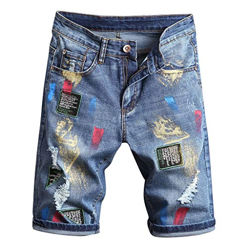 Jeans Shorts Herren Slim Fit GreatestPAK Riss Denim Neu Sommer Komfort Groß Kurze Hosen,Blau,EU:XL(Tag:36) Buffalo Denim
