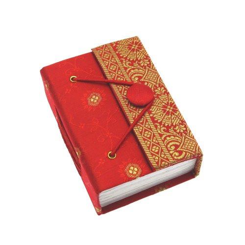 Carnet de notes en sari- commerce équitable - mini 80 x 105 mm rouge