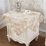 FaceToWind Tischdecke Spitze Seite Staub Tuch Nachttisch Kühlschrank Waschmaschine Top Staubschutz Tuch Goldenen Blumendruck, 125x125cm