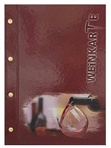 Weinkarte mit Buchschrauben | DIN A4 | Restaurant - Menükarte | inkl. 5 Stk. Einschubfolien | handgefertigt