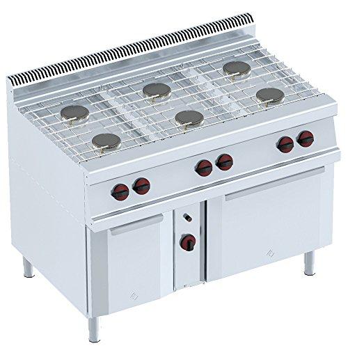 Macfrin 35022 Cocina a Gas de 6 Fuegos, Armario y Horno 32...