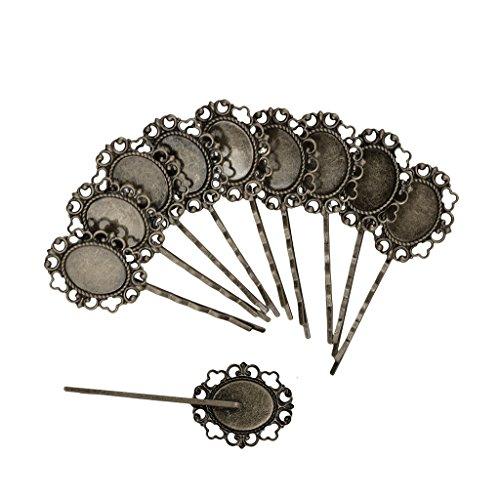 MagiDeal 10pcs Rétro Bronze Pince à Cheveux Ovale Barrettes Fleurs Dentelles Métal Broche Bijoux Gothique