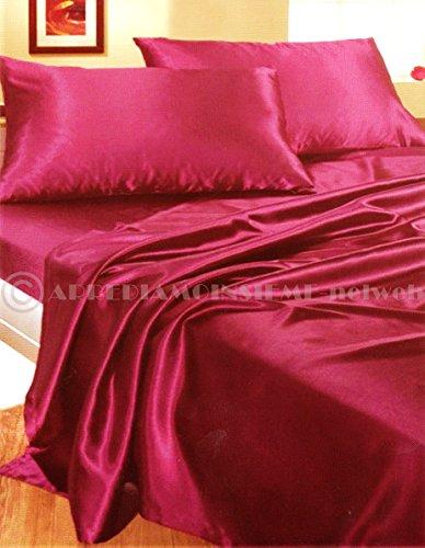 Parure de lit en satin pourpre avec drap de dessus, drap housse avec coins élastiques et 2 taies d'oreiller