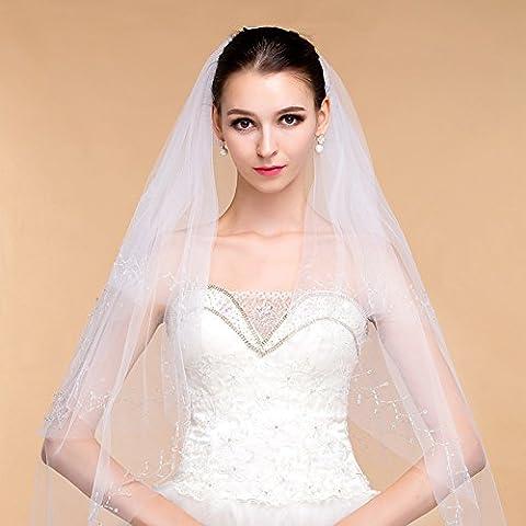 Delicato Wedding Accessories Lace ricamo bordo Ivory White Sposa Velo