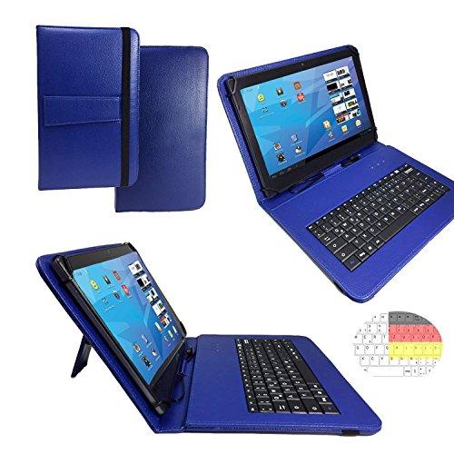 Allview Viva H1001 LTE - Qwertz Tastatur Tablet Tasche 10.1 mit Standfunktion - Deutsche Tastenbelegung - 10.1 Zoll Blau Tastatur