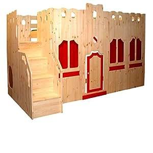 hochbett schloss bett mit treppe und fassade gs zertifziert kiefer massivholz aus nachhaltiger. Black Bedroom Furniture Sets. Home Design Ideas