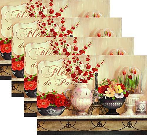 Blissful Living Platzsets, hitzebeständig, schmücken Sie Ihren Küchentisch mit unseren schönen rechteckigen Platzdeckchen Eiffel Tower & Roses