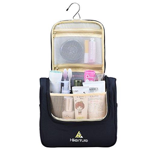 Reise Kulturtasche zum Aufhängen von HikentureTM - Kulturbeutel für Damen und Herren - Waschbeutel Kosmetiktasche mit vielen Fächern - Waschtasche für Reisen, Outdoor, Camping (Schwarz)