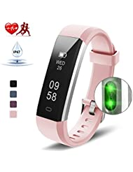 Kungber Fitness Armband Damen, Fitness Tracker mit Pulsmesser, IP 67 Wasserdichte Smartwatch, Schlafmonitor, Schrittzähler für Android und iOS, Geschenk für Damen Herren
