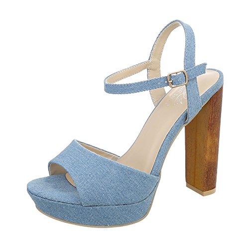 Denim-heels (Ital-Design High Heel Sandaletten Damen-Schuhe High Heel Sandaletten Pump High Heels Schnalle Sandalen & Sandaletten Hellblau, Gr 38, Gh32-32-)