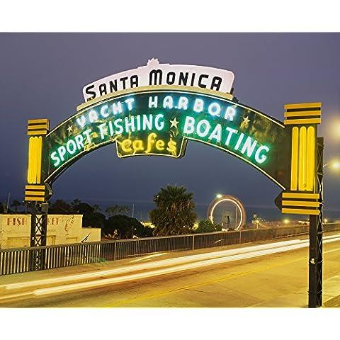 Panoramic Images – Santa Monica Pier Sign Santa Monica CA Photo Print (54,61 x 68,58 cm)